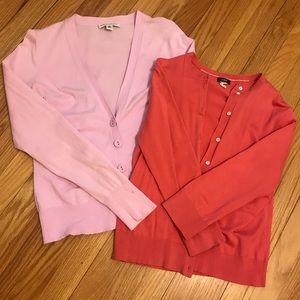 Bundle of light button up sweaters, BR & J. Crew